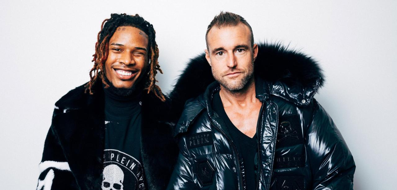 """Ich will, dass du dich wie ein König fühlst!"" - Philipp Plein zu seinem Model, dem Rapper Fetty Wap. Beide tragen die neue Kollektion, die Plein in New York vorstellte. )Quelle: ANDREW WHITE/The New York Times)"